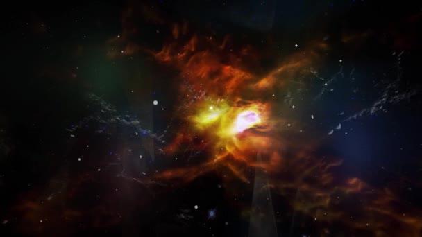 Animace pohybu oblaka prachu a hvězd a světelné záblesky plamene. Místo na pozadí pro použití s projekty v oblasti vědy. Prvky tohoto obrázku jsou podle Nasa.