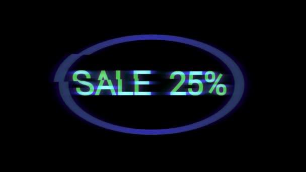 Neon sign prodej 25-50-75 % v oválné rámy na černém pozadí, závada a rozostření, bezešvé