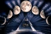Fotografia Fasi della luna: Luna calante, primo trimestre, New Moon, versione terzo guarter, Luna, Luna calante, luna nuova, Luna calante. Geometria sacra, gli elementi di questa immagine ammobiliati dalla Nasa