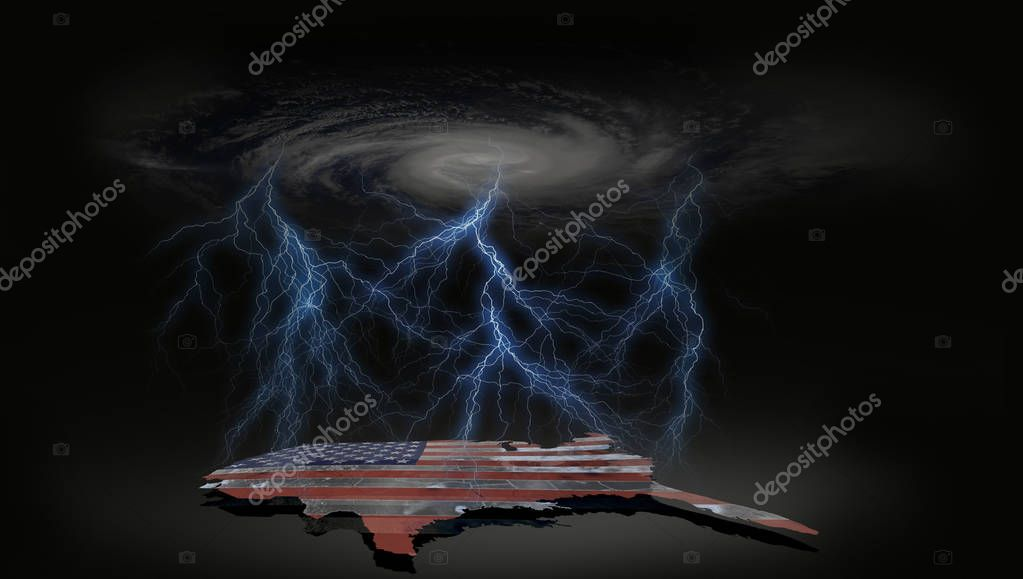 Conceptual abstract dark lightening bolt with ceiling hurrivane clouds and United States of America map with USA flag in a dark background.  Elements of this image furnished by NASA.