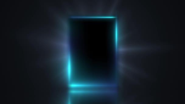 Je to animace mihotavé neonové světla ze dveří temné místnosti, abstraktní mystické, zářící výjezd, objev, pozadí, otevřené dveře, to je všechno. Prázdné tmavé interiérové místnosti téměř zblízka.