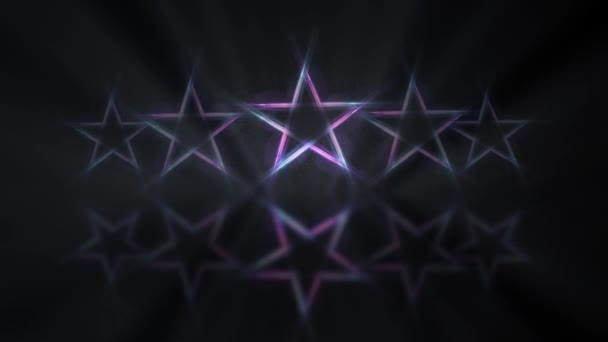 Five stars customer product rating review. Row of neon lights stars witn mirror reflection on the floor, flickering animation.