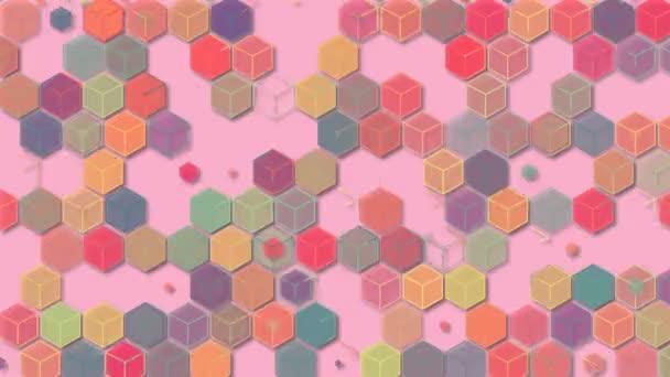 3D illusztrációk, absztrakt geometriai hátterek, világos rózsaszín hangok, színes dobozok