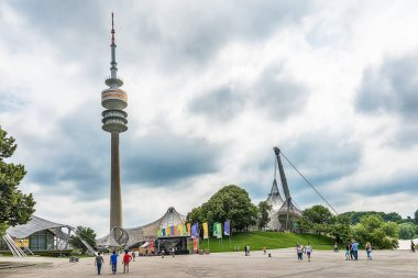 Munich, Germany June 09, 2018: Panoramic view over the olymic park in Munich. The park was built for the olympic games in 1972.