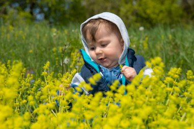 The baby boy with hood sits in the nature and plays with the grass and flowers