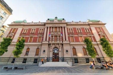 Belgrade, Serbia - August 27, 2020: The building of the National Museum in Belgrade. Staff entrance in national museum.