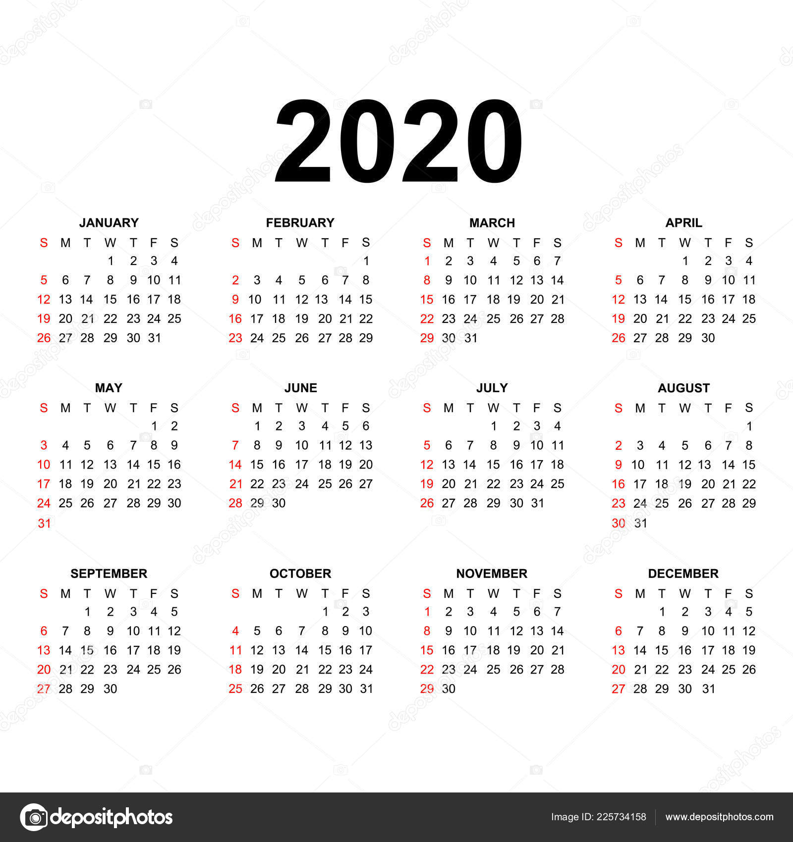 Calendario 2020 2020.Calendar 2020 Template Calendar Design Black White Colors