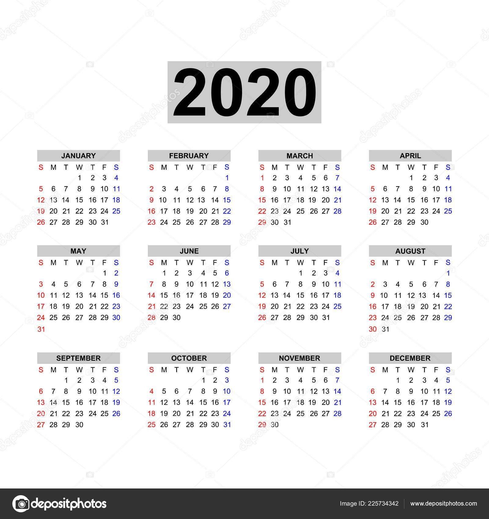 Calendario 2020 2020.Plantilla Calendario 2020 Diseno Calendario Blanco Negro