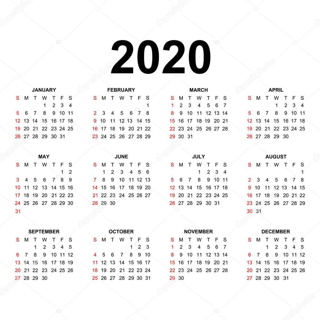 Seria Calendario 2020.Szablon Kalendarza 2020 Projekt Kalendarza Kolorach Czarnym