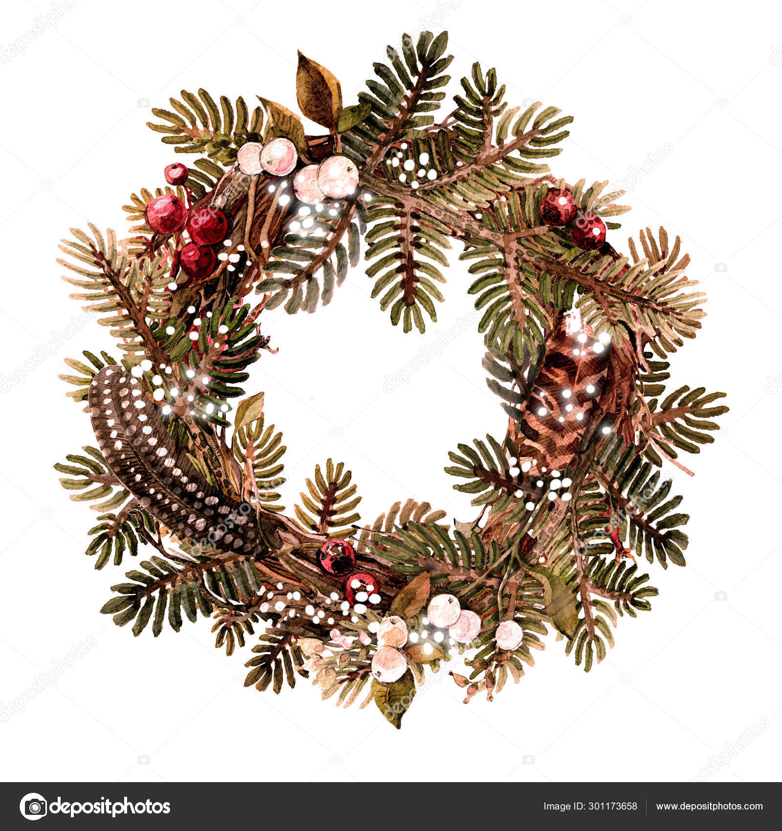 Christmas Holiday Wreath Made Of Natural Materials Branches Spruce Feathers Berries Watercolor Illustration Handmade Stock Photo Image By C Ivakhnova Tatiyana Gmail Com 301173658