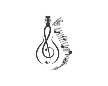 note guitar icon logo vector illustration