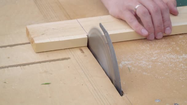 close-up man cuts on a circular saw planed wooden board