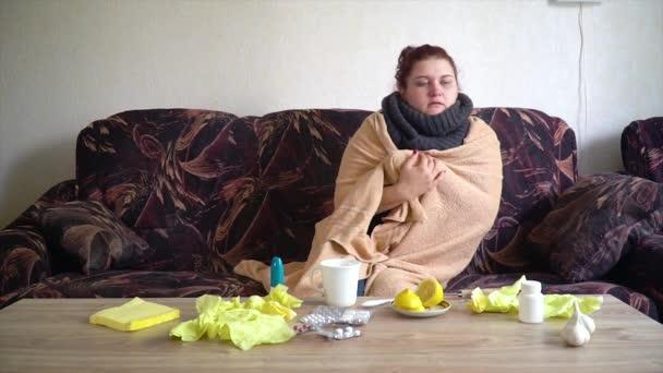 kranke Kaukasierin legt sich auf das Sofa