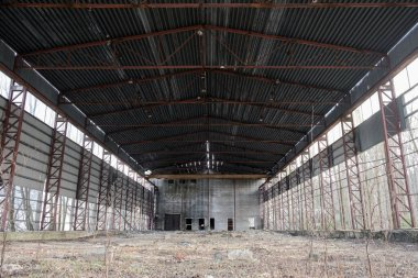 an abandoned old almost-ramped hangar. industrial premises, the concept of abandoned production and the extinction of cities.