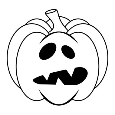 Simple Halloween scary pumpkin with funny face in flat style icon