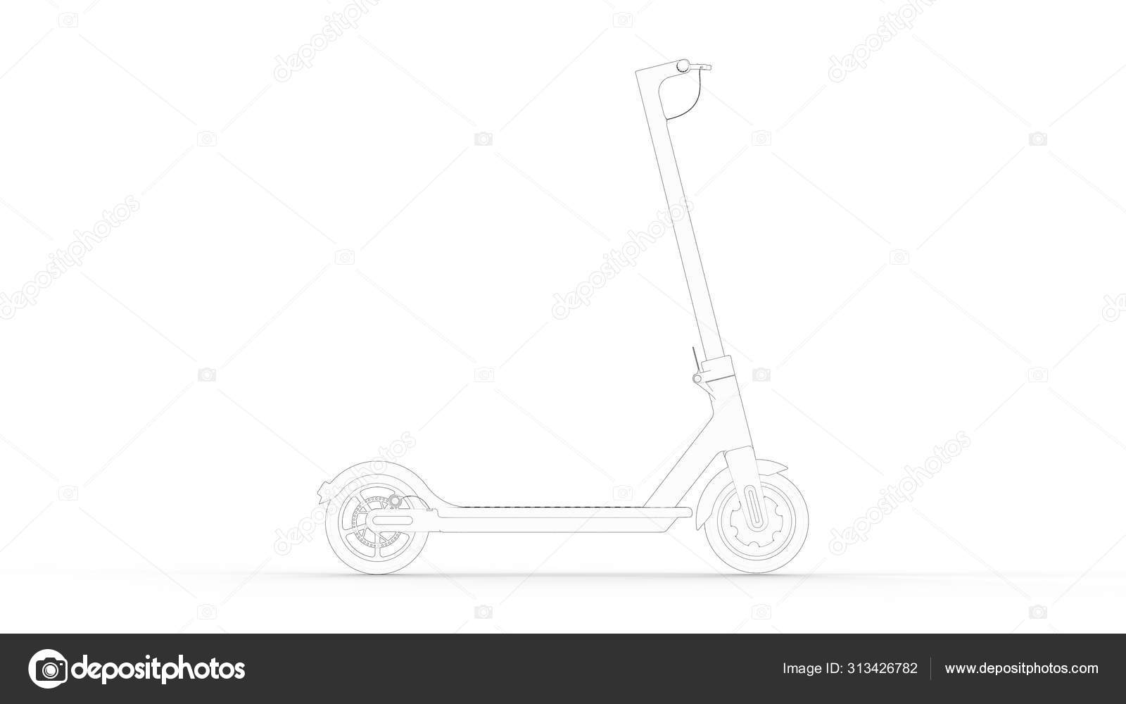3d Rendering Multiple Technical Drawing Views Of An Electric Scooter Stock Photo C Sepia100 313426782
