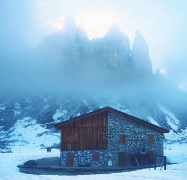 Dolomites and Alpine hut Refugio Lavaredo, Italy. It is natural and  history heritage and landmark stop for climbing the peaks of the Alps.