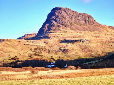 Preshal more mountain, view from Talisker bay.  Landscape view on Isle of Skye Scottish highlands, United Kingdom