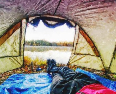 Paint.  Body in camping tent to lake in beautiful morning