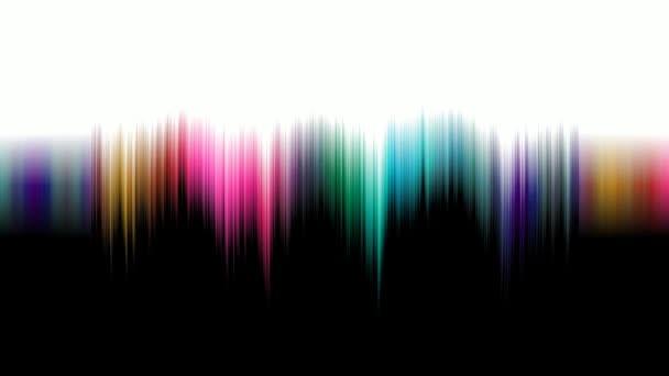 Přesun vlny barevného spektra na monitoru. Jednotlivé barevné nitě se pohybují zleva doprava a zvětšují. Vyrovnávací spektrum barevné vlny