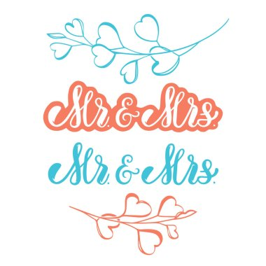 Set of hand drawn vector wedding phrases Mr and Mrs isolated on white background
