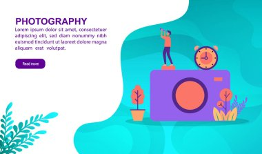 Photography illustration concept with character. Template for, banner, presentation, social media, poster, advertising, promotion