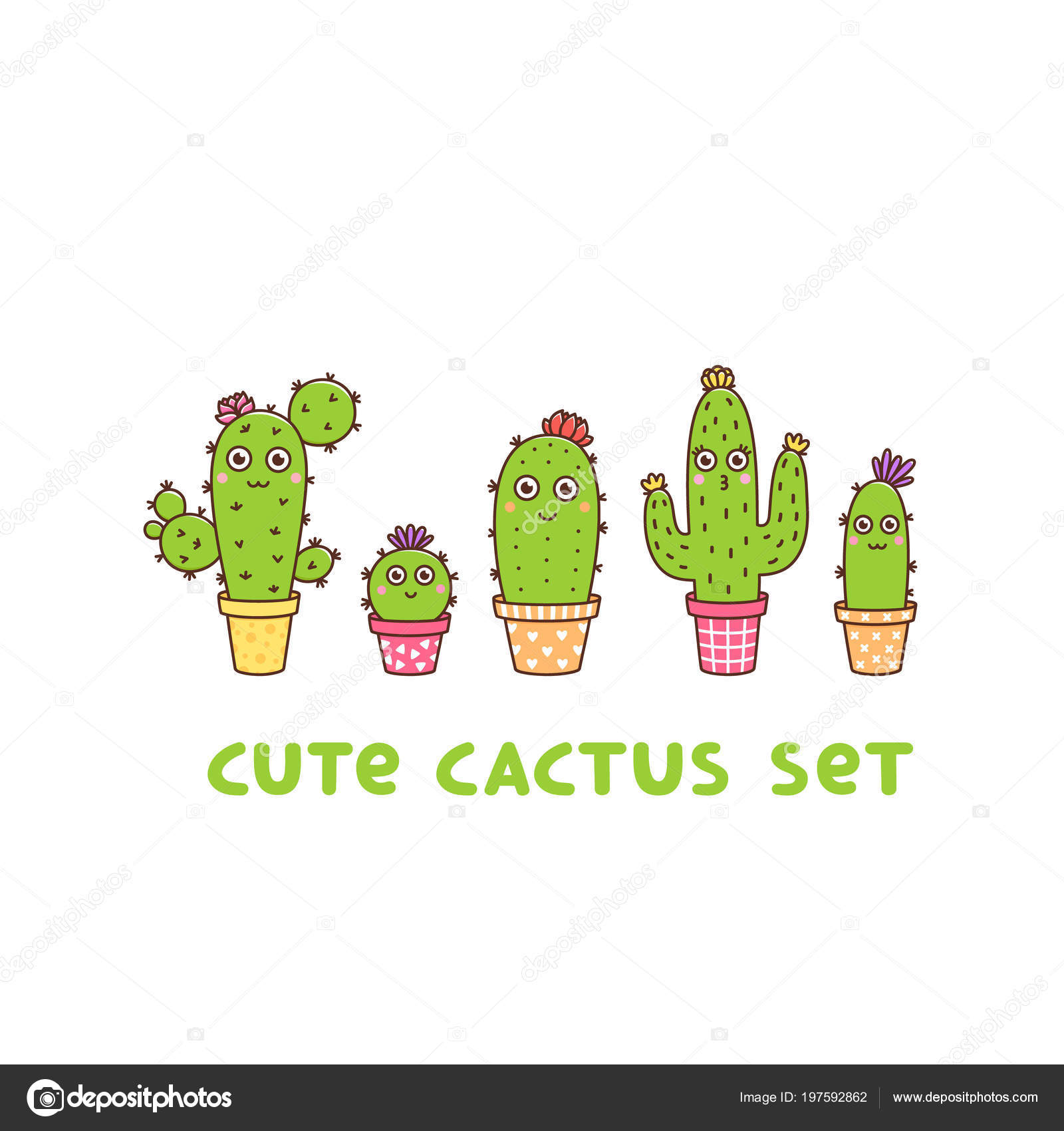 78a380c28e Cute flowering cactus set, in different colors pots, with flowers and  faces, on a white background. It can be used for sticker, patch, phone case,  poster, ...