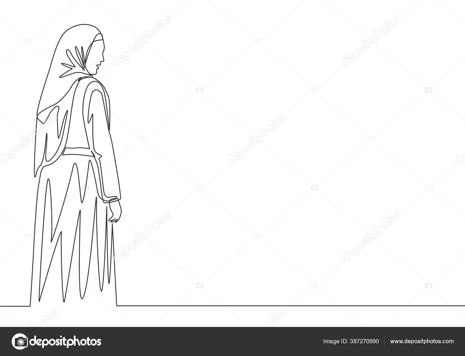 Garis Tunggal Terus Menerus Gambar Muda Bahagia Muslim Gadis