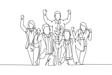 One single line drawing of young happy male and female workers standing forming circle shape together. Business teamwork celebration concept continuous line draw design vector illustration