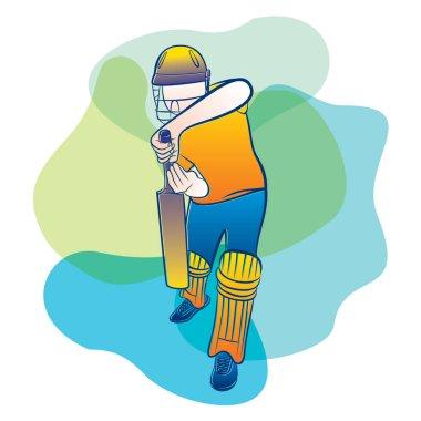kriket oyuncusu savunma pozisyonu, kriket konsept tasarımı için hazır