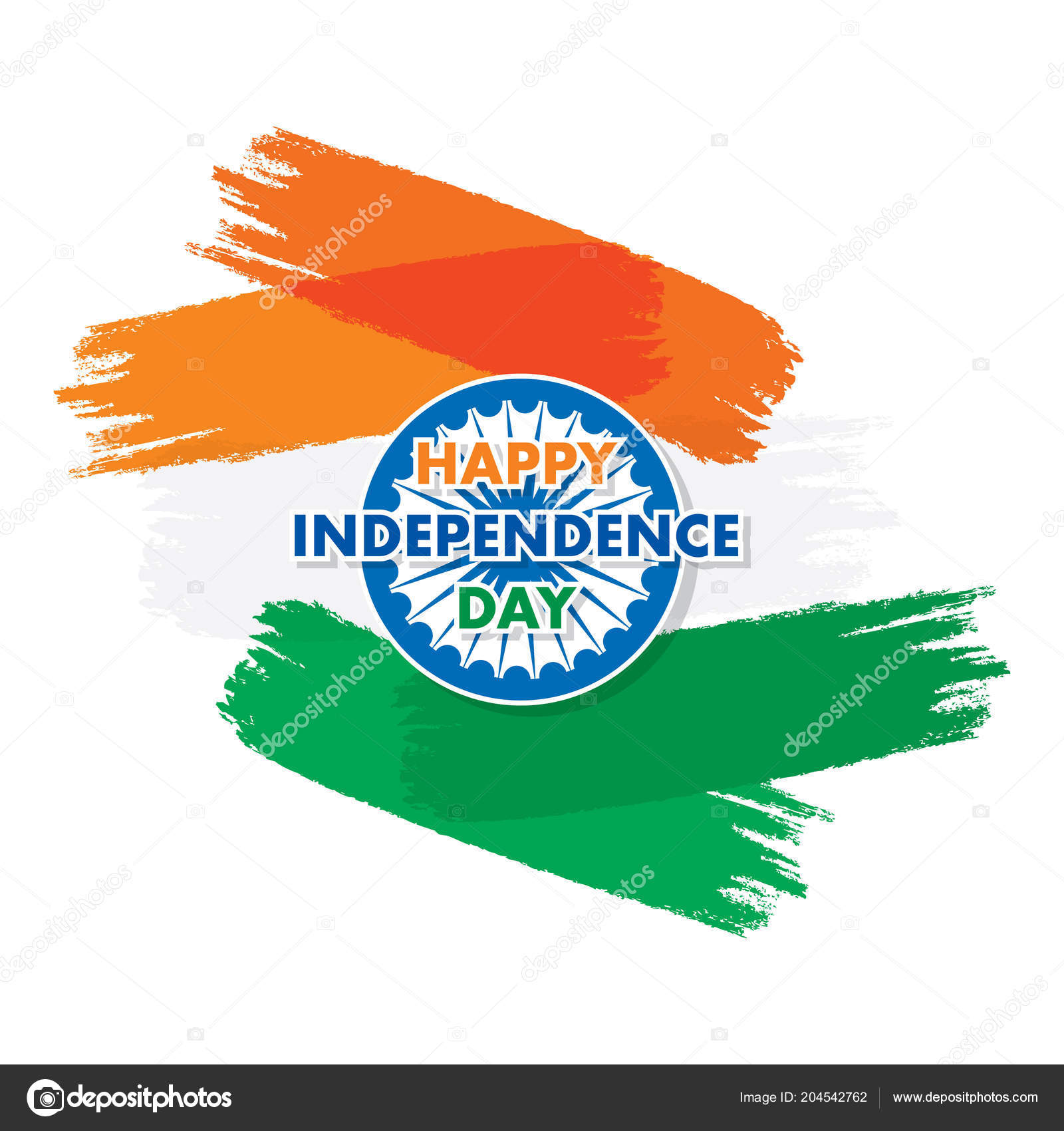 Independence Day India 15th August Greeting Design Brush Stroke