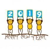 návrh plakátu tvůrčí nový rok 2019, opice drží 2019 banner držet