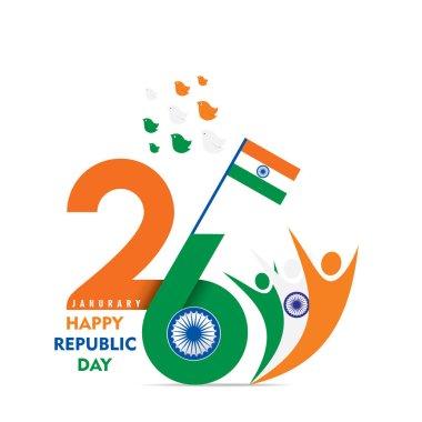 happy republic day of india illustration vector, celebrate 26 january indian republic