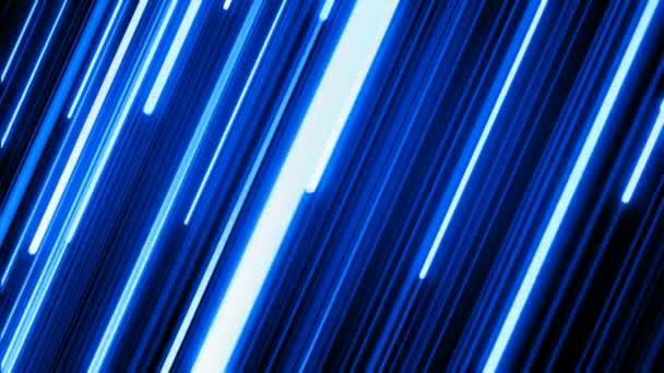 Krásná modrá barva Neon diagonální pruhy stromeček na černém pozadí. Koncepce digitálního designu. Tvořili 3d animaci zářící linky 4k Ultra Hd 3840 x 2160