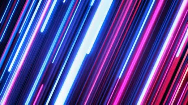 Krásný barevný Neon úhlopříčka stezky pohybující svítící. Růžové a modré na černou. Koncepce digitálního designu. Tvořili 3d animaci zářící linky 4k Ultra Hd 3840 x 2160