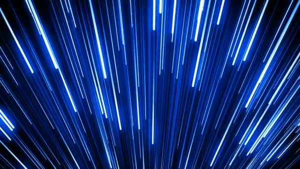 Mozgó izzó felett fekete kék csíkokkal. Gyönyörű alá eső Neon pályák háttér. Digitális tervezési koncepció. Végtelenített izzó vonalak 4k Ultra Hd 3840 x 2160 3D-s animáció.