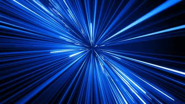 Gyönyörű hely utazás csillag pályák kék színű. Absztrakt hipertér ugrás az univerzum. Digitális tervezési koncepció. Végtelenített izzó vonalak 4k Ultra Hd 3840 x 2160 3D-s animáció.