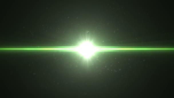 Krásné abstraktní laserový paprsek zářící jasné a v prachu. 3D animace horizontální přesun laserový paprsek bliká zelená červená barva. 4 k Ultra Hd 3840 x 2160