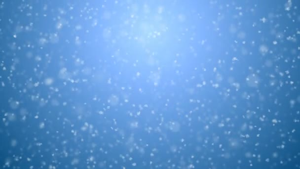 Beautiful Soft Snowfall Seamless on Blue Gradient 3d Animation. Looped White Snowflakes Falling CG with DOF Blur. Holidays Celebration Concept. 4k Ultra HD 3840x2160