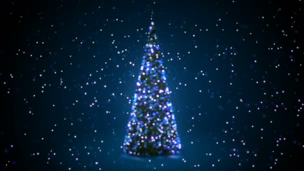 Blue Christmas Tree With Flashing Lights Turning In Snowfall In