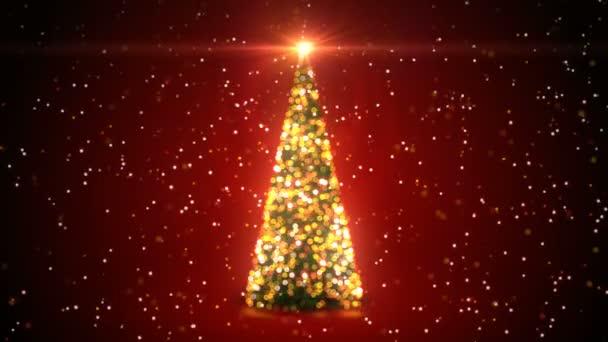 Zlatý vánoční strom s blikající světla rotující v sněžení v Bokeh rozostřeného rozostření na červeném pozadí. Smyčkového 3d animace. Veselé Vánoce a šťastný nový rok koncepce. 4 k Ultra Hd 3840 x 2160
