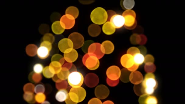 Bokeh új év Tree fények villogó varrat nélküli fekete háttér. Hurok-képes 3D-s animáció. Kellemes karácsonyi ünnepeket és boldog új évet koncepció. 4 k Ultra Hd 3840 x 2160