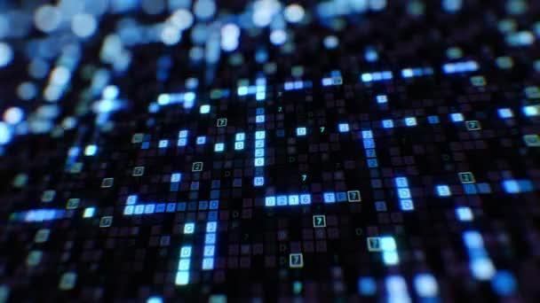 blaue Symbole des digitalen Codes abstrakten Eingabeprozesses Nahaufnahme mit dof unscharfen Bokeh nahtlos. geloopte 3D-Animation. futuristische Wirtschaftsinformationen und ein virtuelles Technologiekonzept. 4k ultra hd 3840x2160