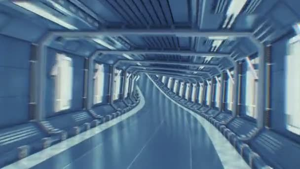Beautiful Abstract Tunnel Flight Through Seamless. Flying in Futuristic Spaceship Tunnel Looped 3d Animation CG. Futuristic Technology Concept. 4k Ultra HD 3840x2160