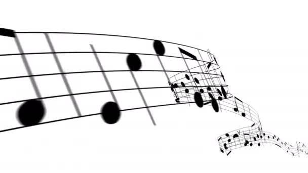 Krásné hudební noty tekoucí na bílém pozadí jako melodie bezešvé. Smyčka 3D animace s maskou alfa 4k Ultra HD 3840x2160