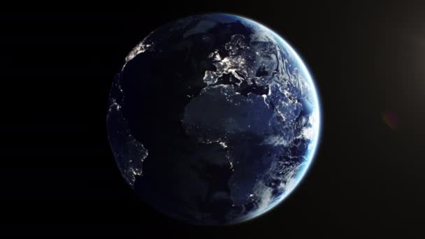 Güzel Dünya Gezegeni, uzayda kusursuz bir şekilde dönüyor. Gece Şehirlerin Işıkları, Parlayan Günbatımı 3D Döngülü Animasyon. Yörünge uydusundan gerçekçi bir görüntü. İş ve Teknoloji Konsepti 4k UHD 3840x2160