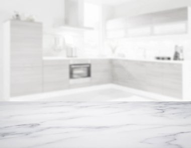 blank marble table top in front of blurry background - Illustration