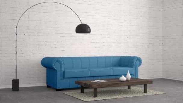 modern nappaliban több színes kanapé és alfa maszk, mint 3D renderelés
