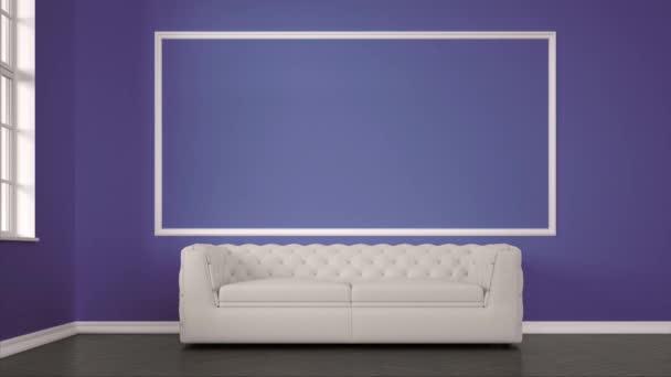 soggiorno moderno con divano multicolore e maschera alfa come rendering 3d