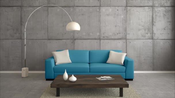 moderní obývací pokoj s více barevnými pohovkami a maskou alfa jako 3D vykreslování